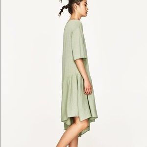 14f84f05 Zara Dresses | Nwt Green Knit Dress With Asymmetric Ruffle | Poshmark